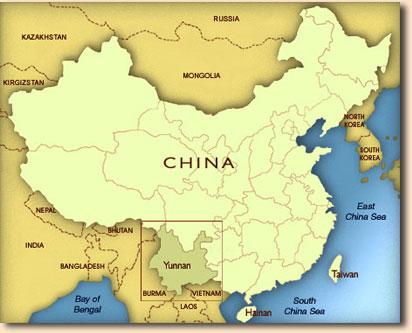 Posizione dello Yunnan